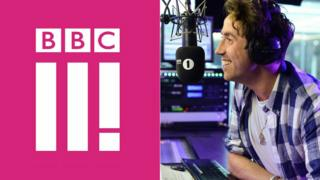 BBC Three logo and Radio 1 DJ Nick Grimshaw