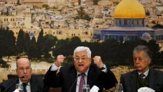 Palestinian President Mahmoud Abbas speaks during the meeting of the Palestinian Central Council in the West Bank city of Ramallah, 14 January