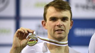 Jack Bobridge celebrates a silver medal at the Track Cycling World Championships in France in 2015