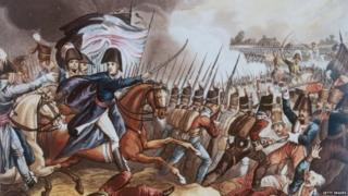 The Duke of Wellington orders his cavalry to advance towards the retreating French at the Battle of Waterloo