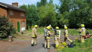 Hertfordshire Fire and Rescue Service officers on a training exercise