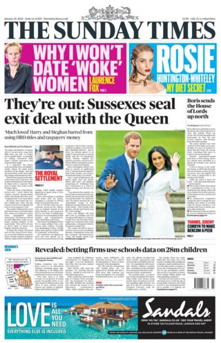 The Sunday Times front page 19/01/20
