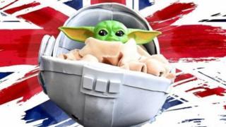 Baby Yoda/Union Jack composite image