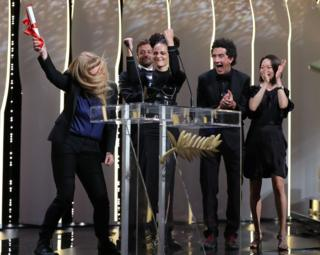 Kent-born director Andrea Arnold accepting her award at Cannes