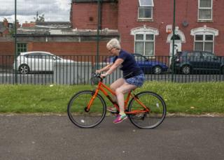 Pauline Roche cycling