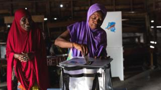 Voter putting a ballot paper in a box