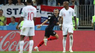 Ivan Perisic celebrates scoring for Croatia against England in the World Cup semi-final