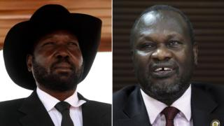 South Sudan President Salva Kiir and his rival Riek Machar