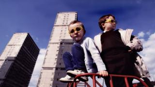 Children playing near high rise flats