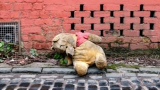 An abandoned Winnie the Pooh