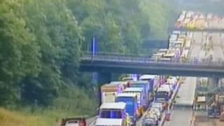 Traffic queues on the motorway