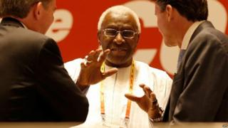Lord Sebastian Coe talks with outgoing president Lamine Diack after being elected as the new President of the IAAF during the 50th IAAF Congress at the China National Convention Centre, CNCC on 19 August 2015 in Beijing, China.