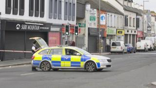 Police cordon on High Street in Newtownards