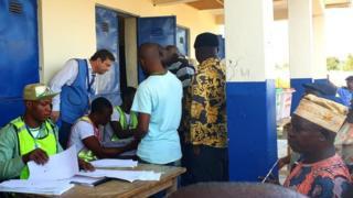 European Union observer Ketil Karlsen dey follow voting process for Kogi State