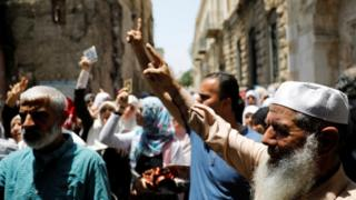 Palestinians protest in the Old City over Israeli security measures