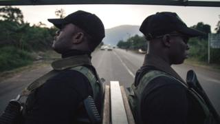 Soldiers of the 21st Motorized Infantry Brigade patrol in the streets of Buea, South-West Region of Cameroon - 26 April 2018