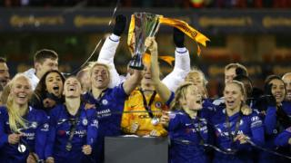 Chelsea Women celebrating winning the FA Women's Continental League Cup in February 2020