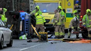 An overturn car on the A4067