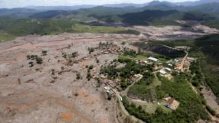 Village of Bento Rodrigues, Brazil, destroyed by the mud from the collapsed dam