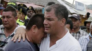 "Ecuador""s President Rafael Correa (R) embraces a resident after the earthquake, which struck off the Pacific coast, in the town of Canoa, Ecuador April 18, 2016."