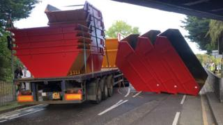 Lorry and skips