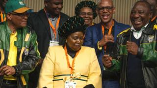 From left to right: Jacob Zuma, Nkosazana Dlamini-Zuma, Cyril Ramaphosa