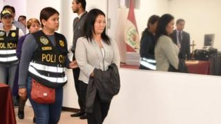 Keiko Fujimori, daughter of former President Alberto Fujimori and leader of the opposition in Peru, in a court after a judge ordered her detention in Lima, Peru October 10, 2018.