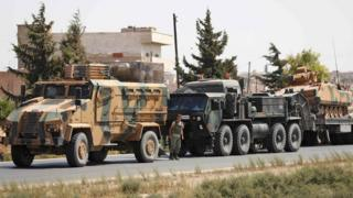 File photo showing Turkish military vehicles in a convoy near the Syrian town of Saraqeb, in Idlib province (29 August 2018)