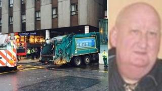 Harry Clarke and crashed bin lorry