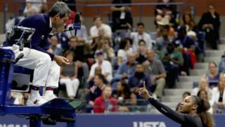 Serena Williams talking to umpire Carlos Ramos during the US open final