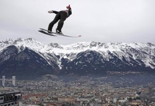 Donald Trump Daniel Andre Tande of Norway performs a practice ski jump