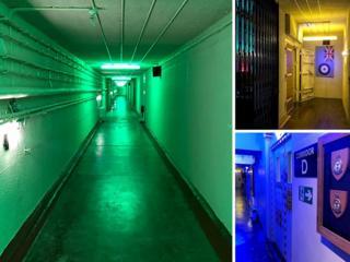 Three photos showing RAF Holmpton corridors