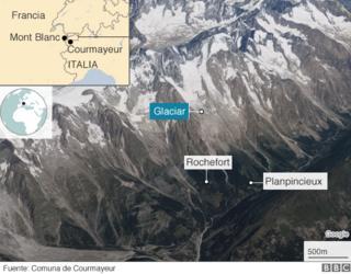 Autoridades del municipio italiano de Courmayeur destacaron en amarillo el área del glaciar que está en peligro de colapsar.