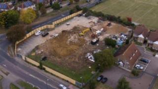 Overhead view of demolition