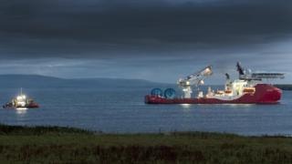 Ships laying cables in Inner Sound of Pentland Firth