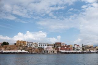 View of the city of Chania in Crete where Ahmed Tarzalakis and his family are staying. At the centre lies Giali Tzamisi, an imposing mosque in the harbour, that used to be one of the earlier buildings of the Ottomans in Crete.