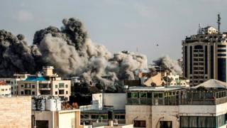 Smoke rising from Gaza City - 14 July