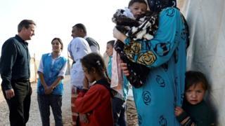 David Cameron meets Syrian refugees