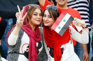 Fans of Syria pose during the FIFA World Cup 2018 qualifying soccer match between Iran and Syria at the Azadi stadium in Tehran, Iran, 5 September 2017