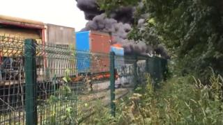 Flames at tyre factory