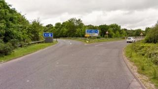 A287, by the junction 5 slip road to the M3 in North Warnborough