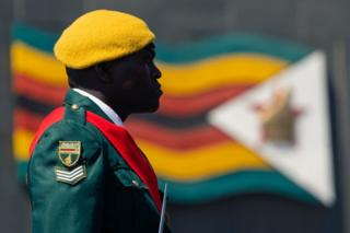 A guard is seen in profile. The colours of his uniform match the Zimbabwean flag seen in the background.