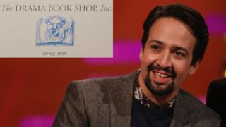 Lin-Manuel Miranda next to Drama Book Shop logo