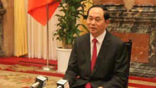 陳大光在河內接受媒體訪問