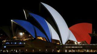 Colours of French flag projected on to the Sydney Opera House. 15 Nov 2015