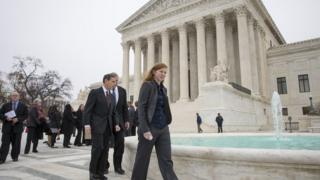 Abigail Fisher, pictured here outside the US Supreme Court, sued over race-based policies after she was denied admission to the University of Texas