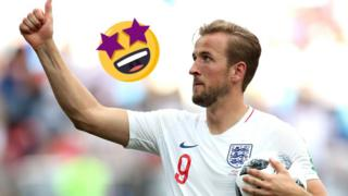Harry Kane gives a thumbs up to the crowd after England's victory against Panama at the World Cup