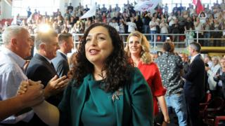 Vjosa Osmani, leader of the Democratic League of Kosovo (LDK), arrives for a campaign rally in Suhareka, Kosovo