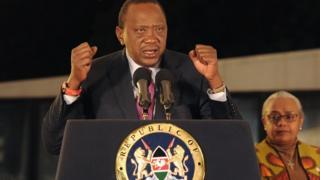 Rais Kenyatta akihutubu baada ya kutangazwa mshindi wa uchaguzi wa urais Ijumaa