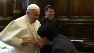 Pope greeting visitor